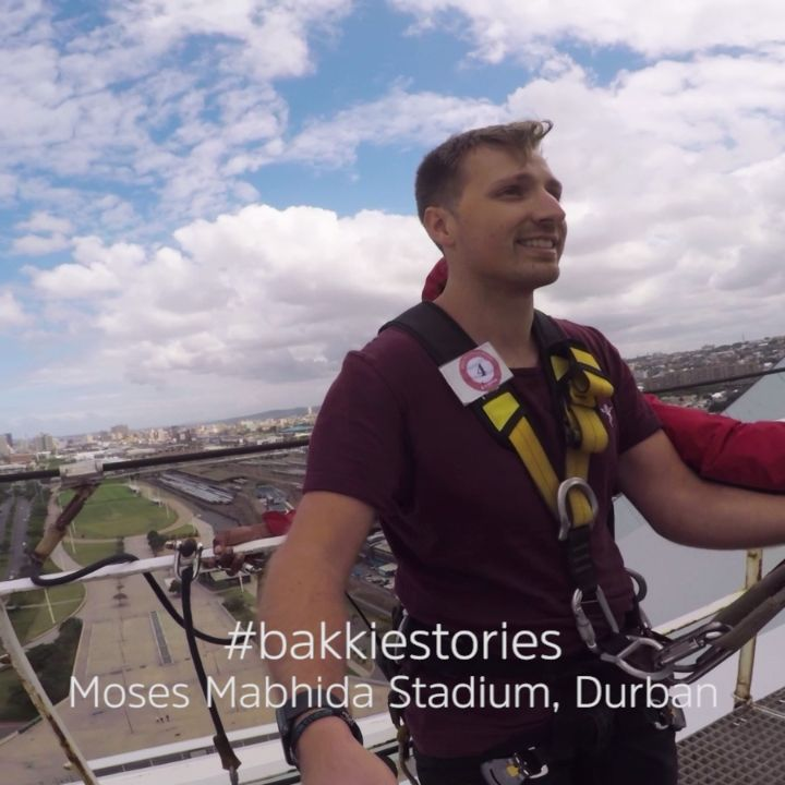 Are you brave enough to take on the world's tallest swing, located in Durban, South Africa? Elevated above the Moses Mabhida Stadium, (a world cup football pitch,) the Big Rush Swing is 288ft high - certainly not for the faint hearted! #BakkieStories