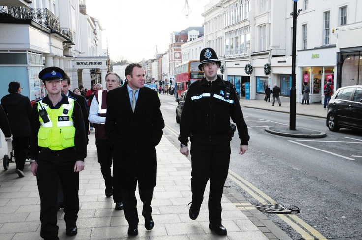 Home Office Minister for Policing and Criminal Justice Nick Herbert on patrol in Leamington Spa town centre.
