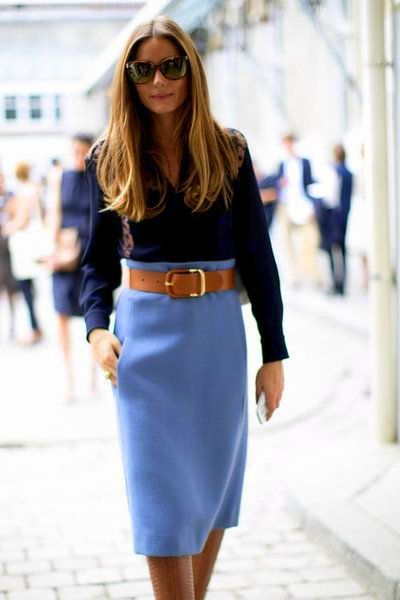 Dark blue shirt with powder blue skirt -also like the thick belt and matching boots