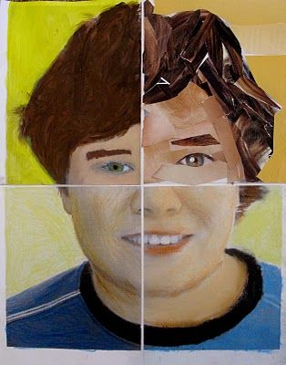 self portrait, mixed media on top of photo? Tempera, oil pastel, colored pencil, and collage