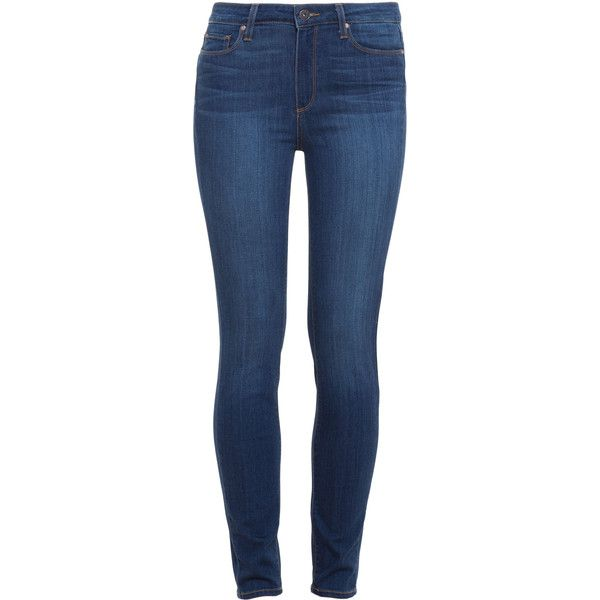 PAIGE DENIM Hoxton Skinny Jeans found on Polyvore featuring jeans, pants, bottoms, calças, light wash jeans, faded blue jeans, skinny leg jeans, stretch jeans and denim skinny jeans