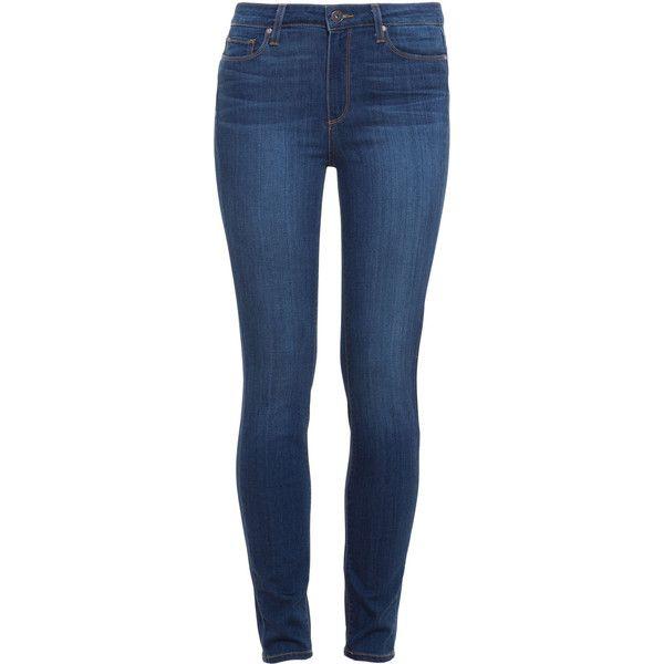 PAIGE DENIM Hoxton Skinny Jeans found on Polyvore featuring jeans, pants, bottoms, calças, light wash jeans, faded blue jeans, skinny leg jeans, stretch jeans and denim skinny jeans