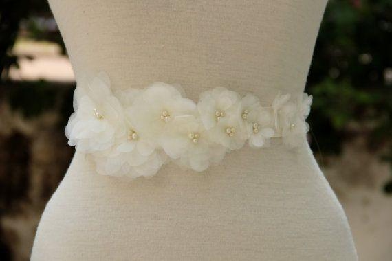 Ivory organza bouquet of flowers wedding dress belt /sash,night dress belt, bridesmaid accessorie on Etsy, $58.00