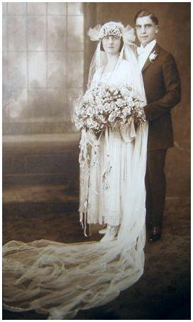 +~+~ Antique Photograph ~+~+  Wedding Couple ~ 1922