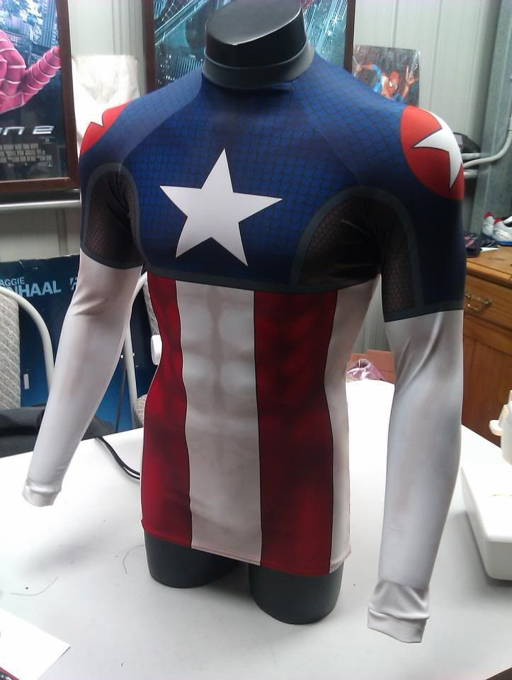 Dye sublimation process printed on lycra for customized costumes. This guy is…