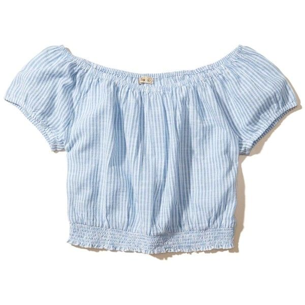Hollister Off-The-Shoulder Crop Top ($30) ❤ liked on Polyvore featuring tops, blue stripe, stripe crop top, crop top, smocked top, blue striped top and striped tops