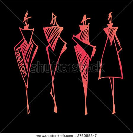 Fashion models silhouettes hand drawn , vector illustration gradient on black background