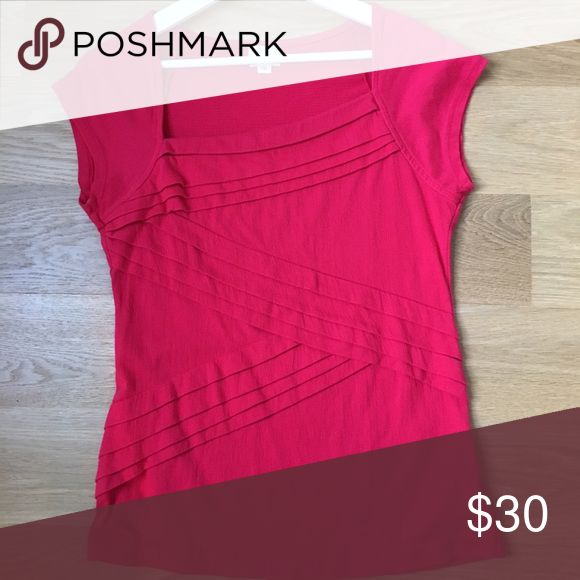 Short sleeve dress shirt Short sleeves, close fit and dressy hot pink shirt. Perfect for the office or casual wear. Anthropologie Tops Blouses