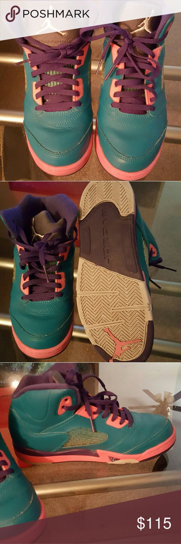 Kids jordan 5 retro teal pink and purple Like new worn once jordan 5 retro Jordan Shoes Sneakers