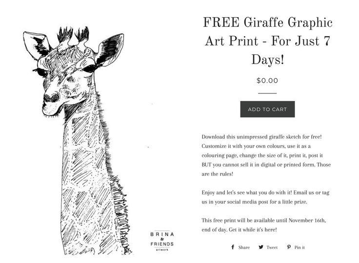 Limited Time Offer - Free Printable Artwork - Unimpressed Giraffe