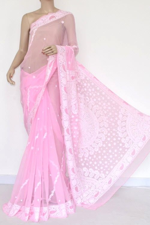 58b4fc6be7 Baby Pink Hand Embroidered Lucknowi Chikankari Saree (With Blouse -  Georgette) 14420