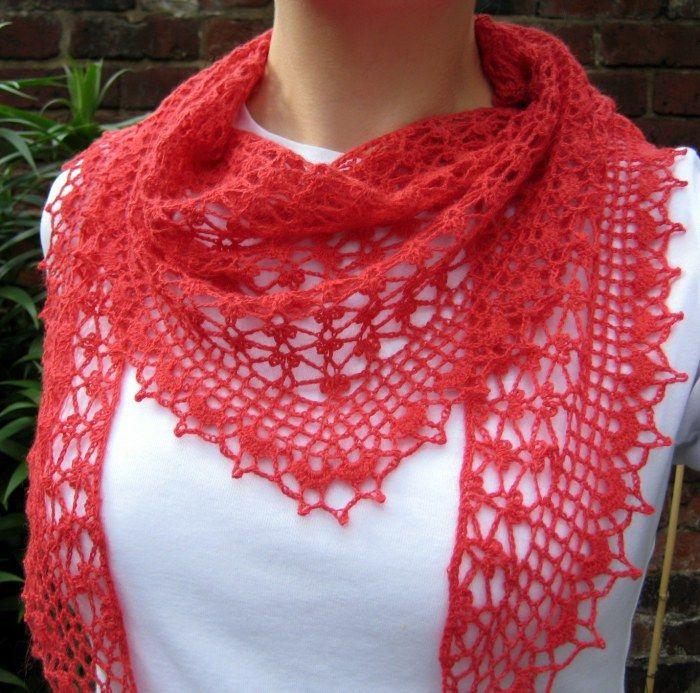 Summer Sprigs Lace Scarf Pattern by Esther Chandler.. With her permission / met haar toestemming heb ik er een NL beschrijving van gemaakt