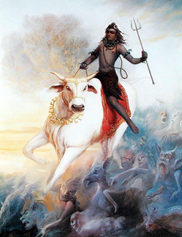 Shiva and Nandi by Ram Das Abhiram Dasa.