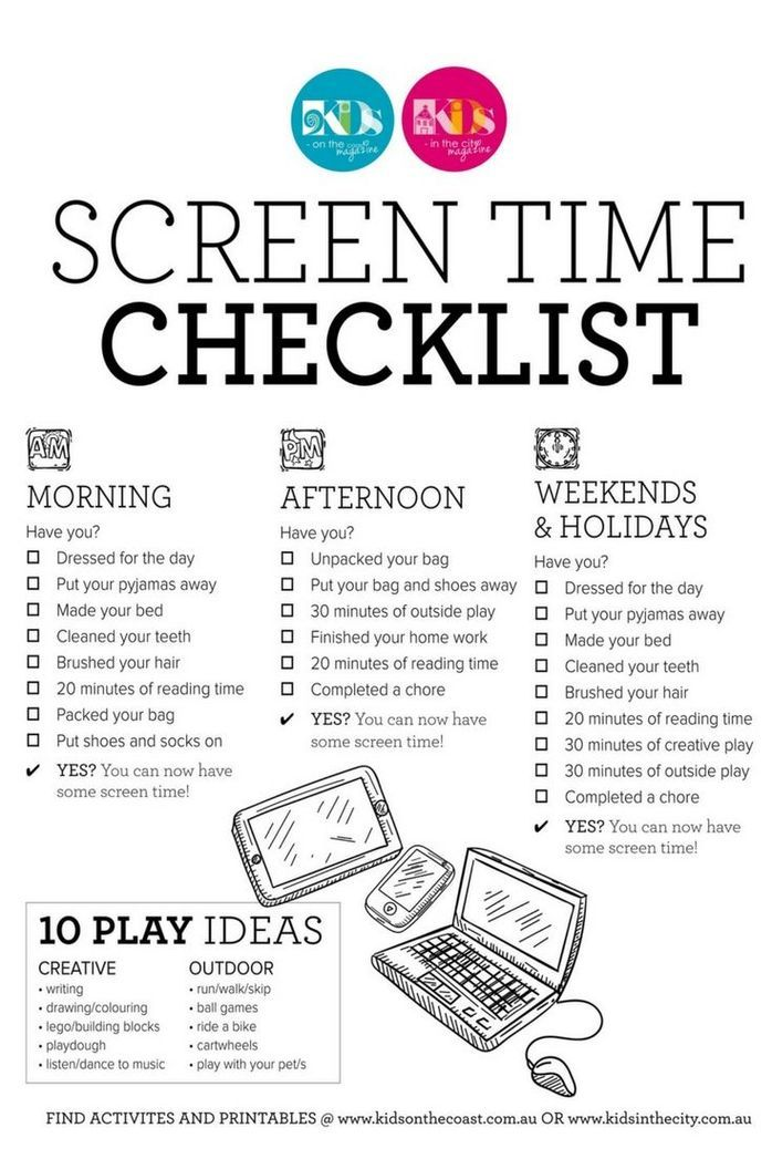 Earn Screen Time Checklist