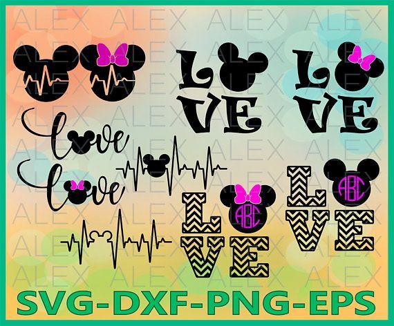 Mouse Love Svg, Mouse ECG Svg, Heartbeat Svg, Cricut Cut
