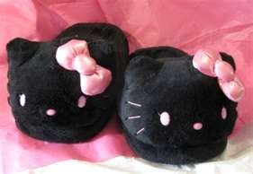 Black and Pink Hello Kitty Slippers♥
