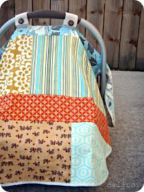 calico: infant carseat blanket tutorial, so the blanket won't fall off the car seat or onto baby's face, plus complete sunlight coverage for napping!