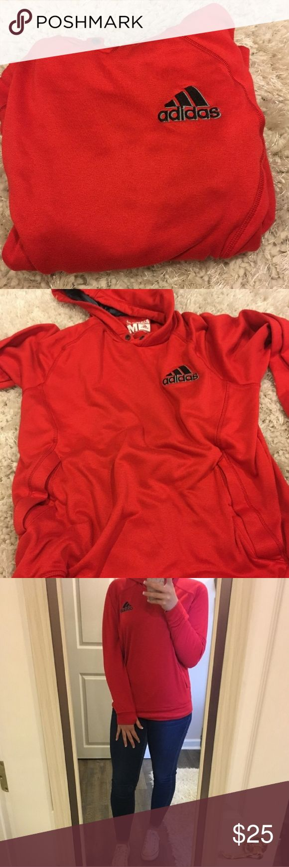 Red adidas hoodie Red adidas hoodie size M Nothing wrong with it just don't fit adidas Sweaters