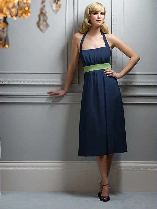 Navy color dress. Green accent. Military wedding color scheme.