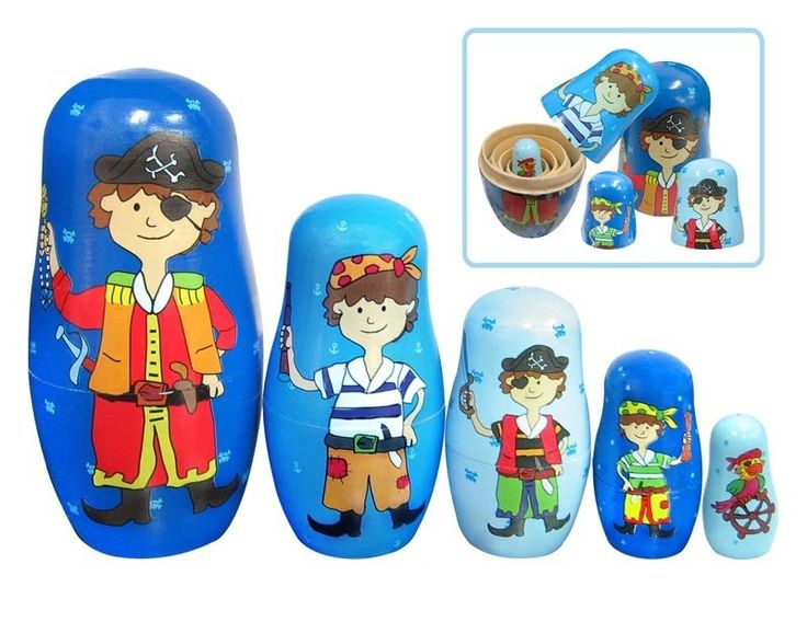 Wooden Pirate Nesting Dolls - 5 piece set.  Traditionally a Russian toy, this classic set of Wooden Pirate Nesting Dolls is sure to provide loads of entertainment. This set consists of 5 dolls, each displaying a different pirate figure. Each wooden figure separates in the middle, to reveal a smaller figure inside, which has, in turn, another figure inside of it, and so on. The last figure is a solid piece, this one displays a parrot. $14 at Kids Toys to You - www.kidstoystoyou.com.au