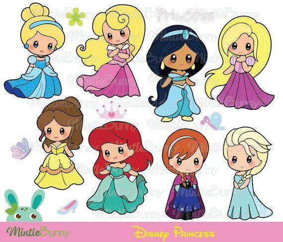 Cute Princess Clipart Princess Clipart Princess Chibi Chibi Clipart Hand Drawn Instant Download Disney Princess Drawings Disney Princess Artwork Princess Drawings