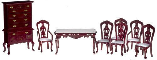 8 pc Victorian Dining Room Set - Mahogany with White