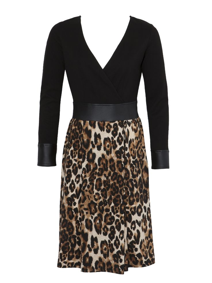 Long sleeve leopard printed dress with wrap top.
