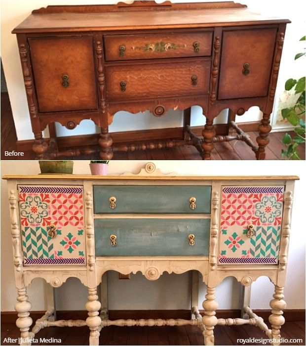 24 Before + After DIY Stencil Projects to Inspire! Modern Shabby Chic Vintage Style - Custom Painted Furniture Stencils and Tile Stencils and Gold Leaf from Royal Design Studio for Easy DIY Decorating and Painting Decor (project by Julieta Medina)