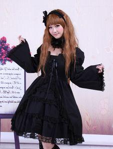 Vestito da Lolita nero gotico in cotone con maniche lunghe e fiocchi