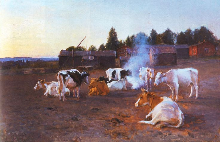 Finnish cows - Eero Järnefelt - Cows in Turf Smoke, 1891 - Finland