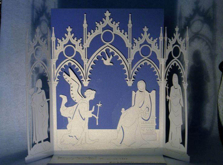 RETABLO ANUNCIACIÓN, inspirado en el cuadro de Simone Martini. Es plegable y se manda por correo como invitación. Cartulina. A la venta en www.recordart.es