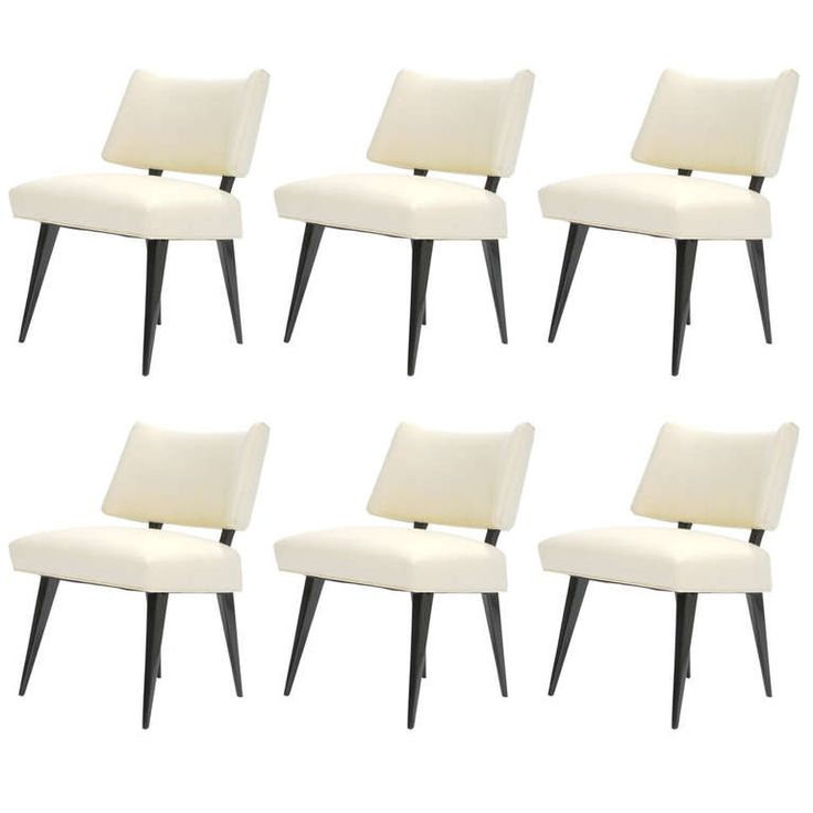A Set Of Six Elegant Dining Chairs In The Manner Of Billy Hanies. White  Leather Dining ChairsModern Dining Room ... Part 54