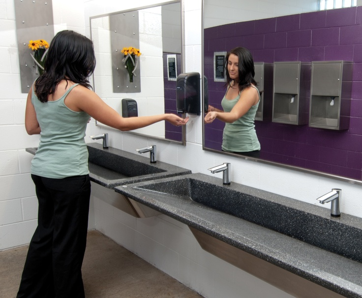 the verge lavatory system and stainless steel washroom accessories in the womens restroom at summerfest get visitors back to festival fun even quicker - Bradley Bathroom Accessories