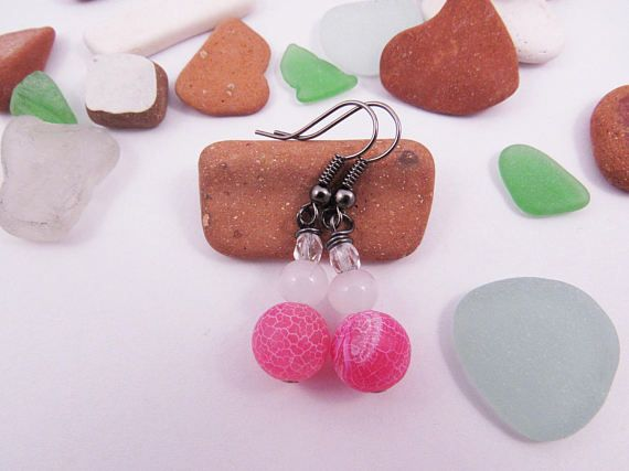 Pink Frosted Agate Earrings  Glass Beads  Light by RubiesAndBees
