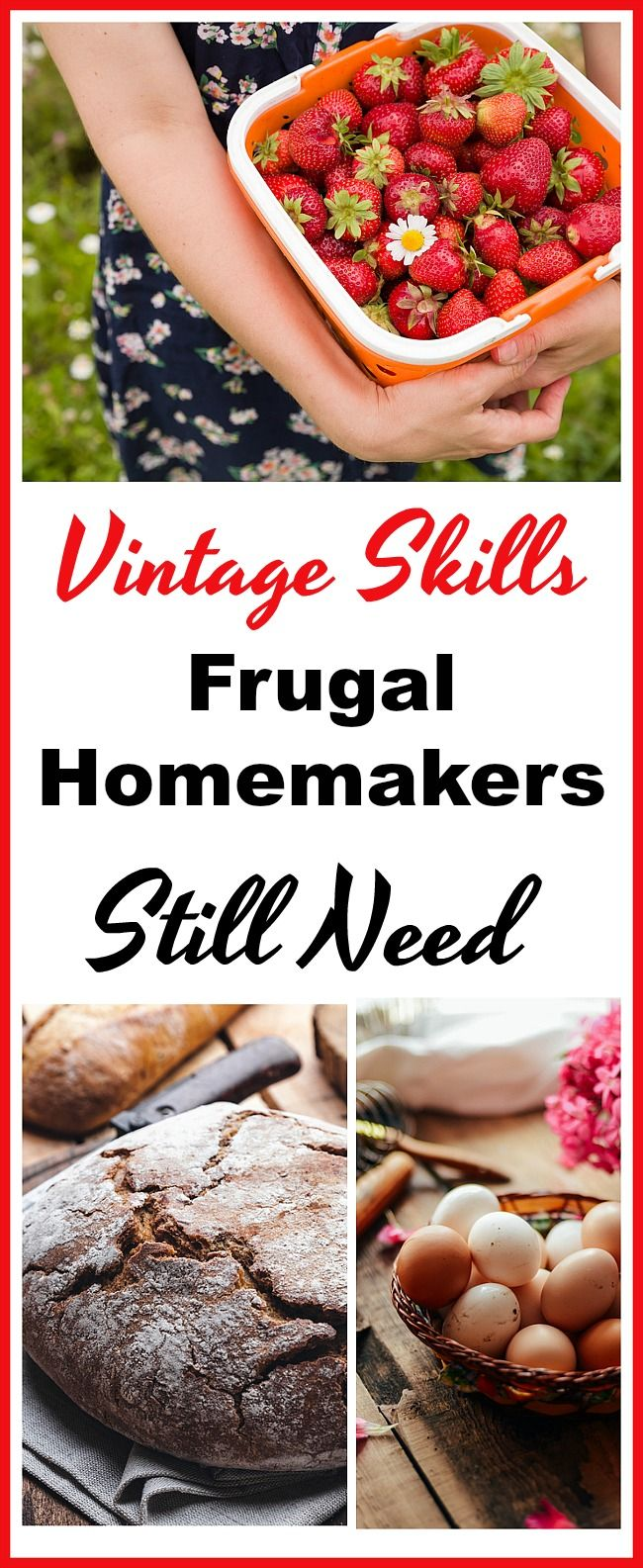 "Vintage Skills Frugal Homemakers Still Need - Once upon a time homemaking was all about ""Use it up, wear it out, make it do or do without."" Despite technology and modern conveniences, there are still some vintage skills frugal homemakers need to have in order for them to navigate the art of frugal homemaking today.  Frugal living, homemaker tips, old fashioned homemaking, homemaking 101, money saving tips, living on a budget, sahm, home management"