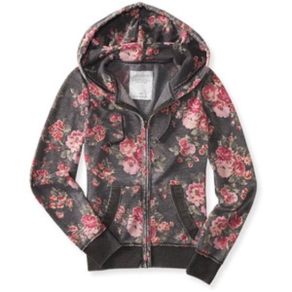Vintage floral zip up hoodie Floral zip up hoodie jacket with a vintage wash. Size S. Brand new with tags. Aeropostale Jackets & Coats