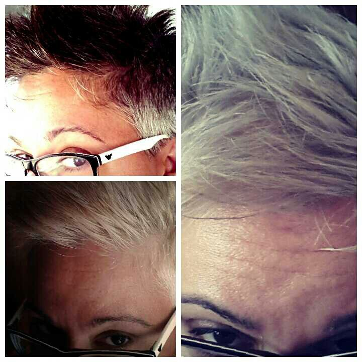 Finally, my hair is grey. But, as the picture shows, it's been quite a long journey.