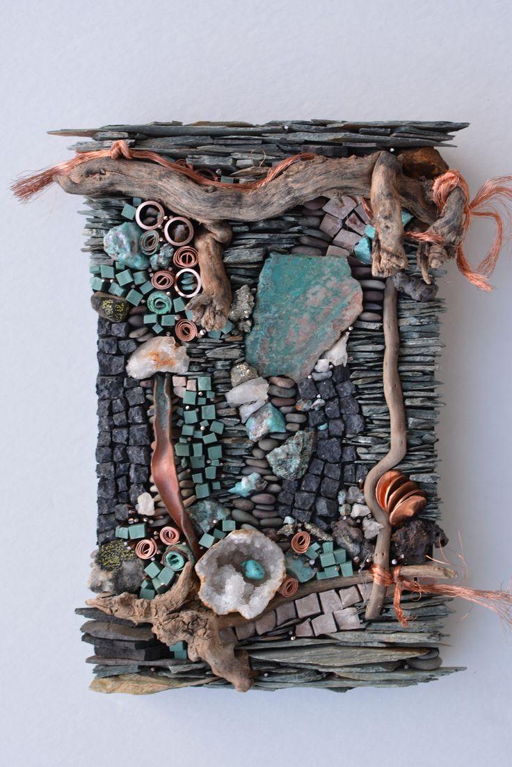 Pocket Art: Agate, shale, turquoise, driftwood, quartz, porcelain, copper, marble, pyrite.