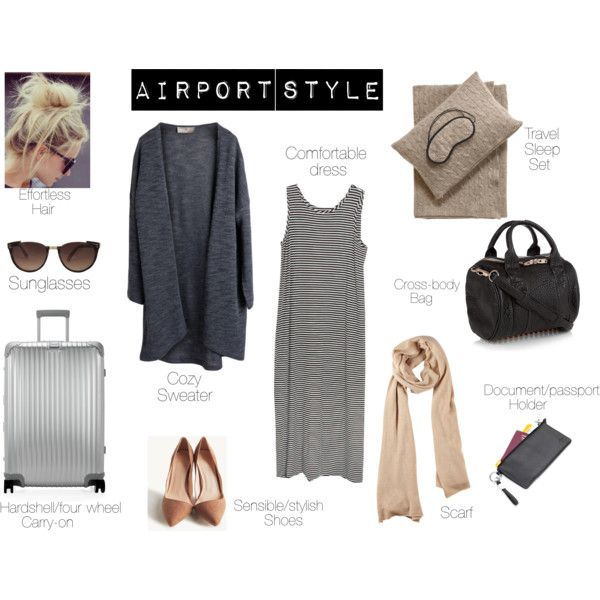 Airplane essentials. Travel in comfort and style. by singlecatlady on Polyvore featuring Cameo, Pieces, Rimowa, Alexander Wang, Troika, Linda Farrow and Sofia Cashmere