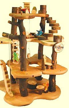 tree house made of tree blocks
