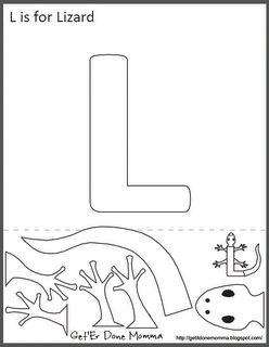 Free Animal Alphabet Crafts: L is for Lizard for a Reptile theme