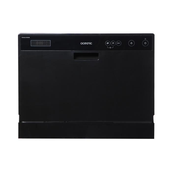 Lave vaisselle - Capacité 6 couverts - Classe énergétique A+ - Niveau sonore 53 dB - Départ différé - Fonction départ/pause - 5 programmes - Affichage du temps restant - Coloris Noir