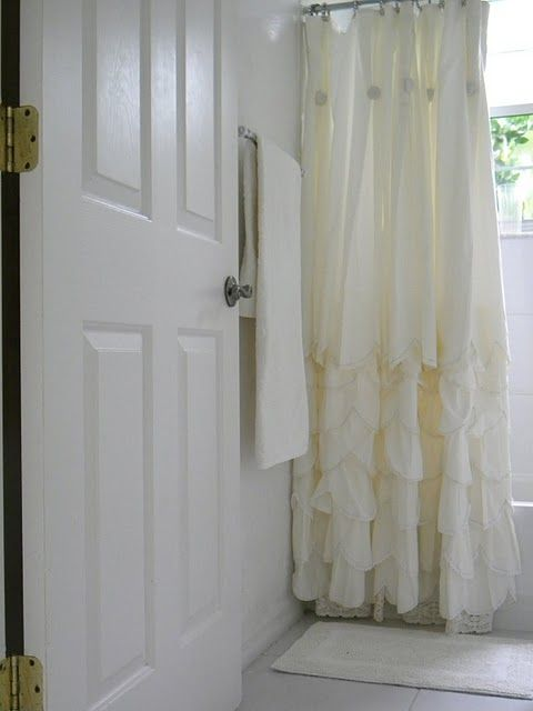 love this Anthropologie shower curtain - Simply Me's bathroom for her kids ~~love the ruffly shower curtain!
