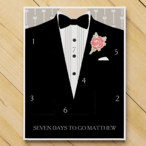 Wedding groomsman countdown chocolate calendar. Ideal for to give to your groomsman particularly those who tend to be a little absent minded. Graphic art by www.sarahtrett.com