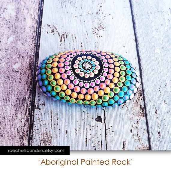 Painted Rock, Aboriginal Dot Art, Painted stone, Acrylic Painting, rainbow painting, ornament or paper weight, pastel colours