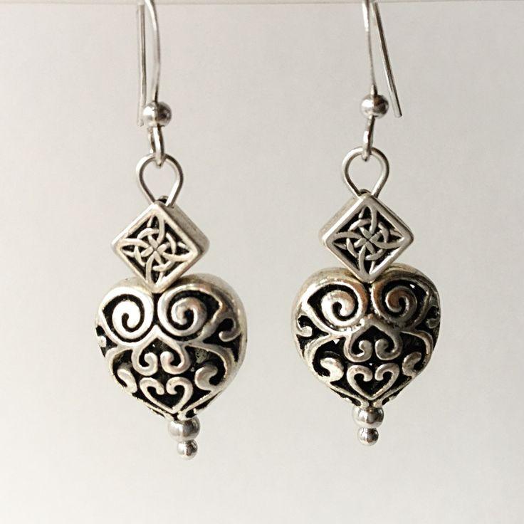 Diamond Heart Earrings by VexedUpBoutique on Etsy