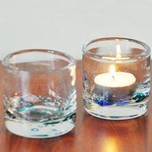 Su desenli bardak cam mumluklar... Ürün ölçüsü; 6*6 cm