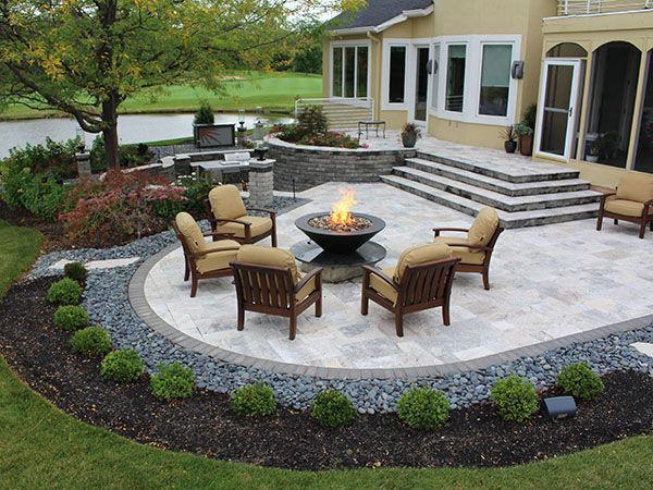 Stairs, Firepit, Paver Patio With Travertine, Back Yards, Patio (Concrete  Patio Step)