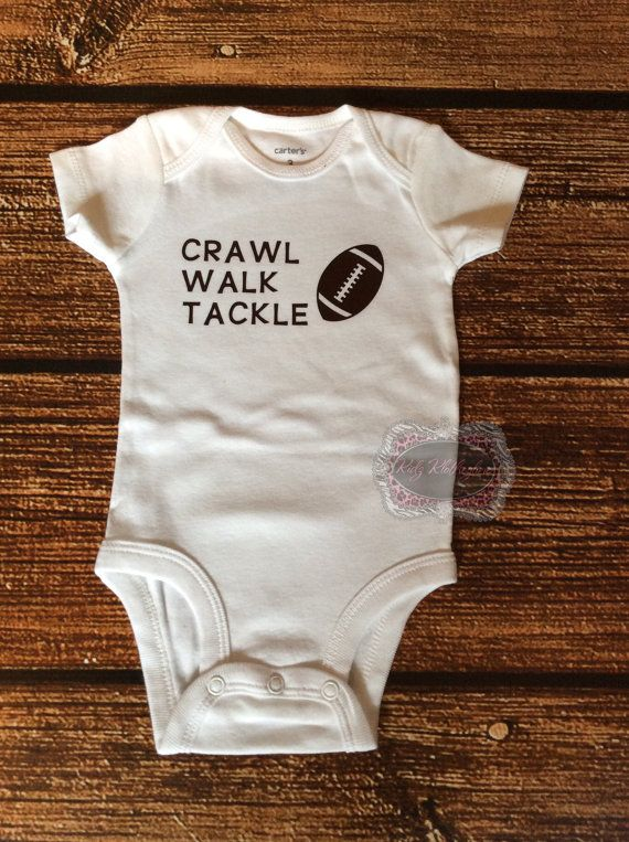 Baby Onesie Football Onesie Crawl Walk Tackle by KidzKlothezline