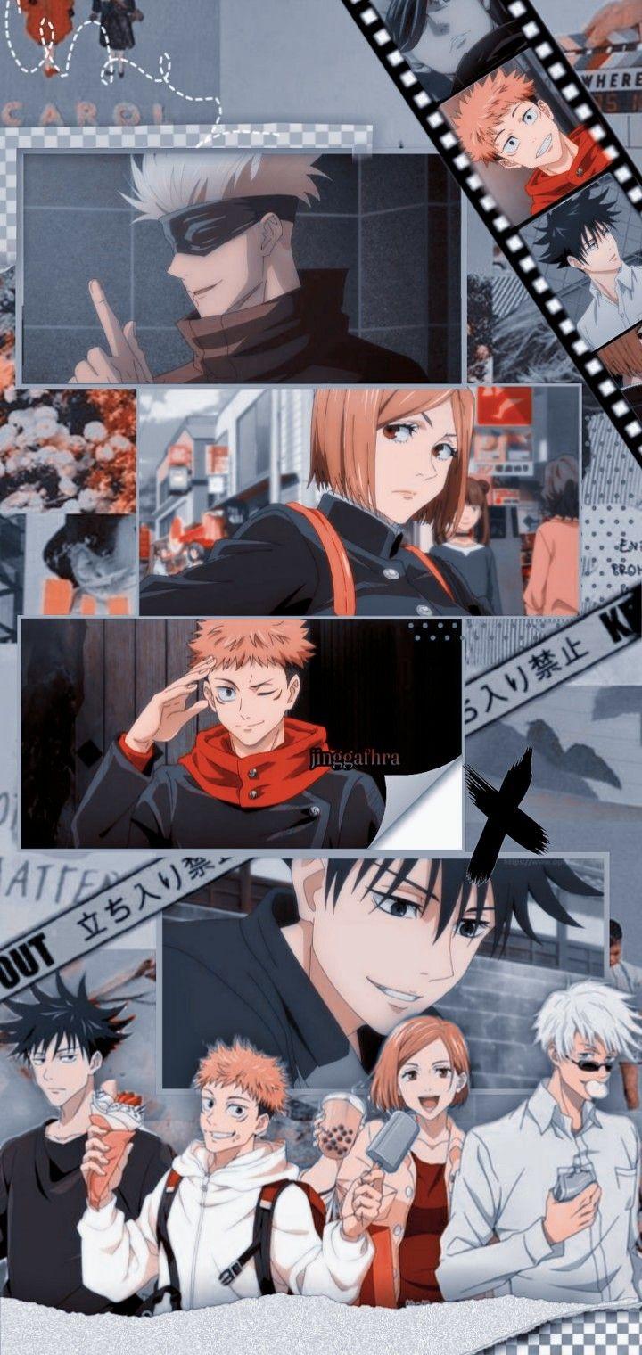 Jujutsu Kaisen Lockscreen Gojo Itadoriyuuji Fushiguromegumi Kugisakinobara Cute Anime Wallpaper Aesthetic Anime Anime Backgrounds Wallpapers Anime shows iphone wallpaper